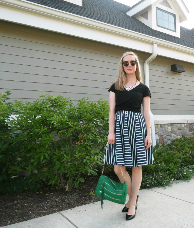 Nine West wedges, t-shirt over dress, a-line dress, knotted t-shirt, Rebecca Minkoff inspired bag