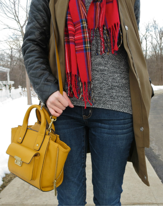leather sleeve jacket, plaid scarf, phillip lim for target bag, cuffed jeans and ankle boots, rose gold watch for small wrist, law school style