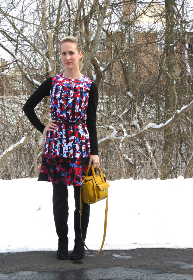 peter pilotto target dress, phillip lim target bag, calvin klein otk boots, monogram necklace, layered necklaces