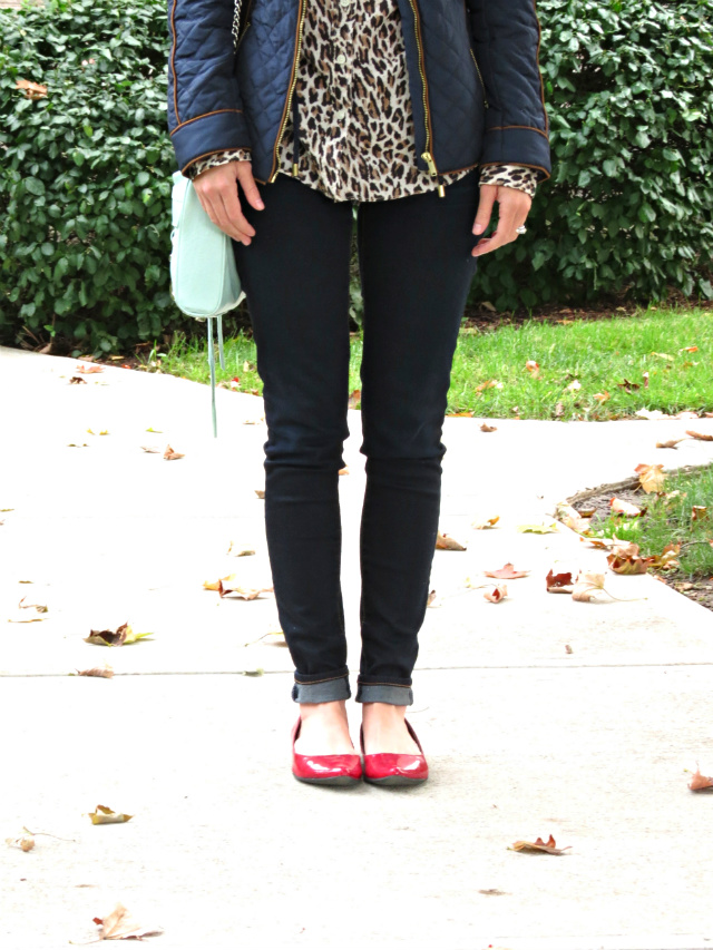 H&M quilted jacket, leopard oxford shirt, dark skinny jeans, red flats