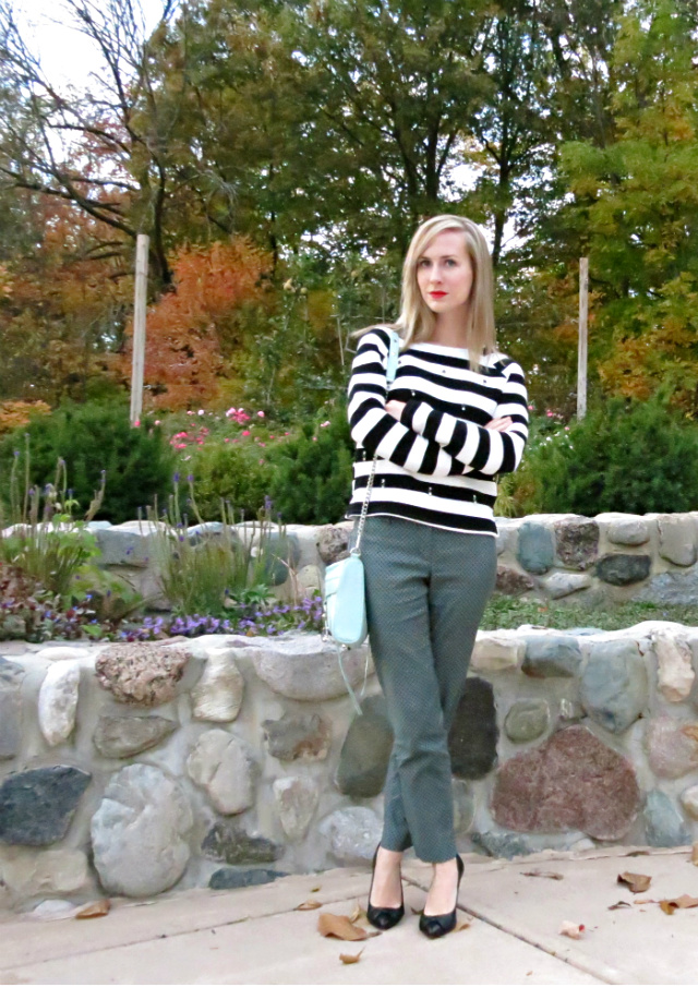 bejeweled stripe top, printed pants, bow pumps, faux leather jacket