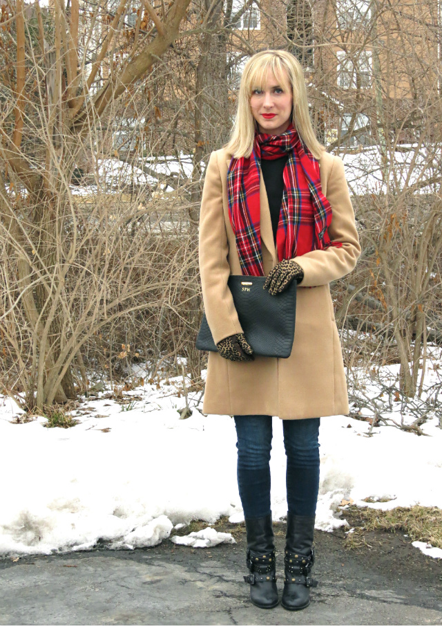 camel coat, red plaid scarf, leopard gloves, studded boots