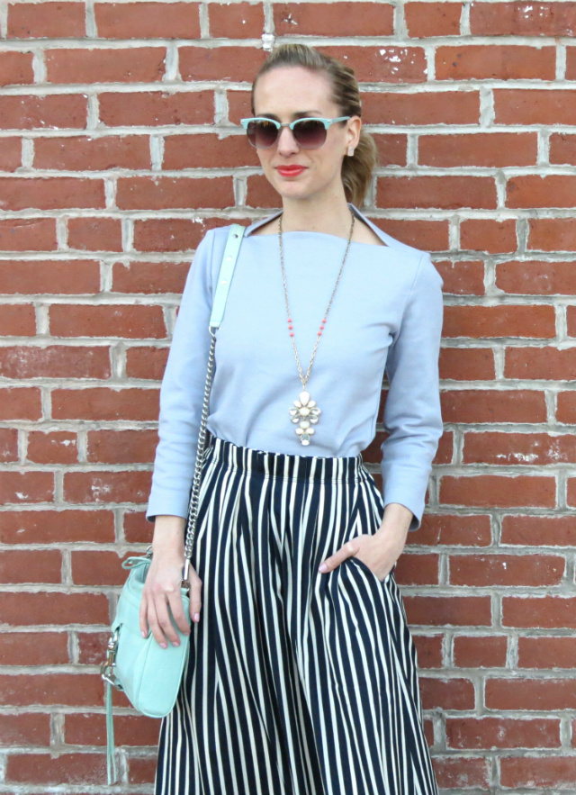 83f058377ce7 J. Crew striped midi skirt, mint Rebecca Minkoff MAC bag, Nine West navy