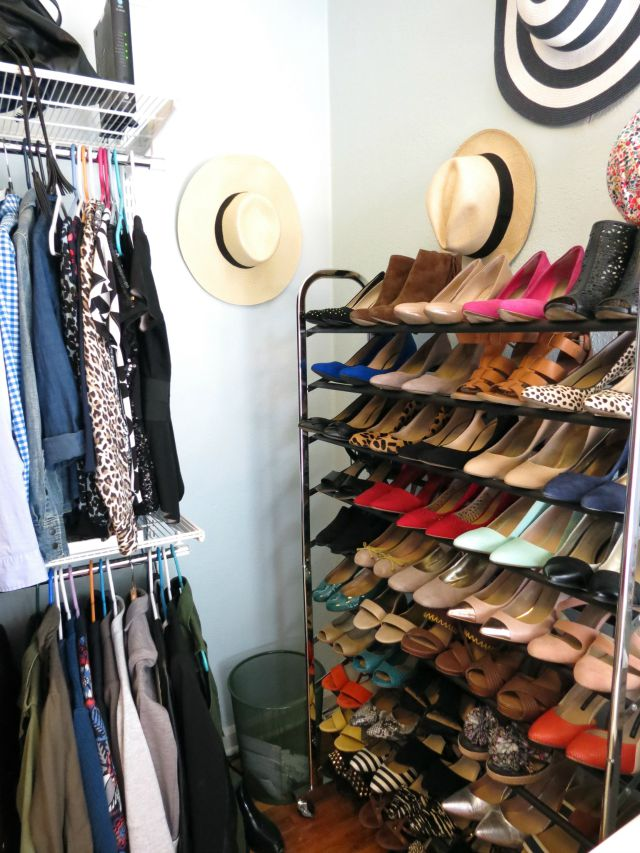 real dressing room, how to turn spare bedroom into walk in closet, dream closet, elfa closet system, dressing room table, hat storage, shoe storage