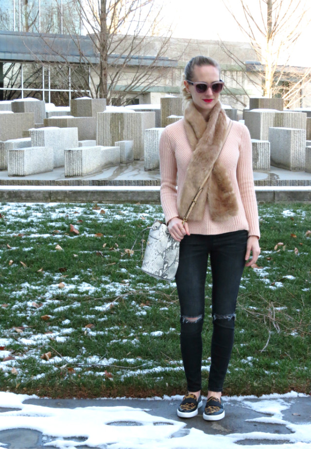 blush cable knit sweater, faux fur crossover scarf, distressed gray jeans, pink sunglasses, Kate Spade leopard sneakers