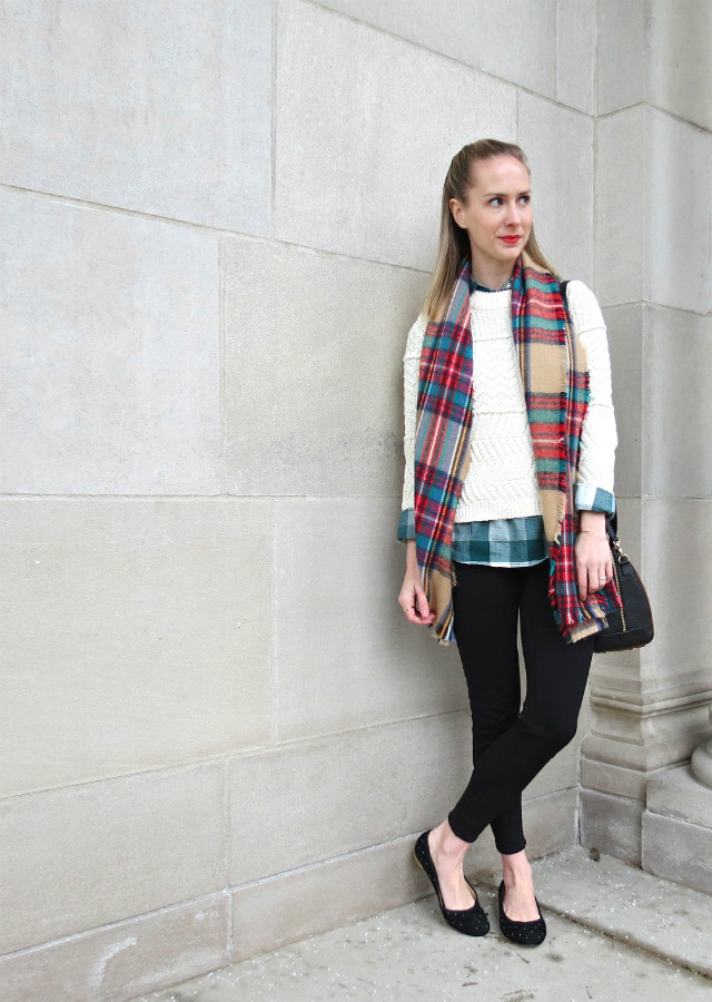 mixing plaids, layering sweater over button up shirt