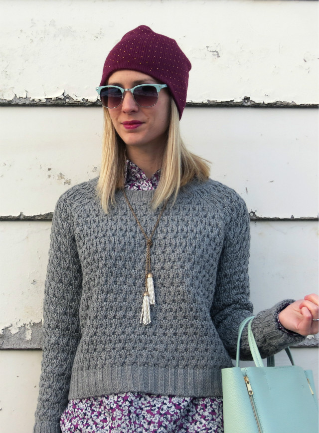 J Crew Factory shirt, cropped sweater, over the knee boots, purple beanie, mint bag