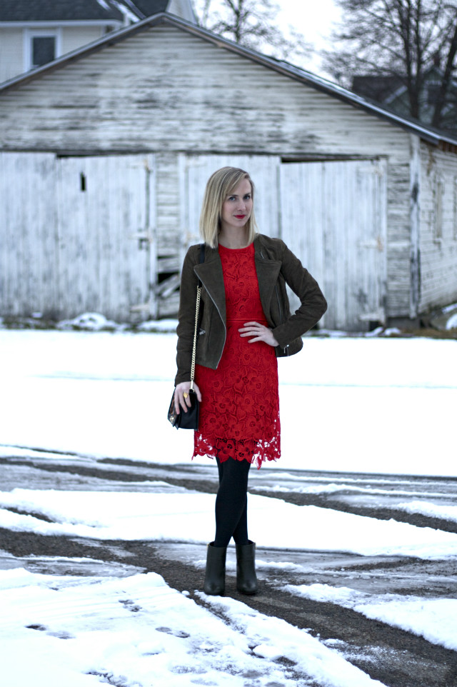 red lace dress, Rebecca Minkoff leopard bag, olive ankle booties, suede jacket