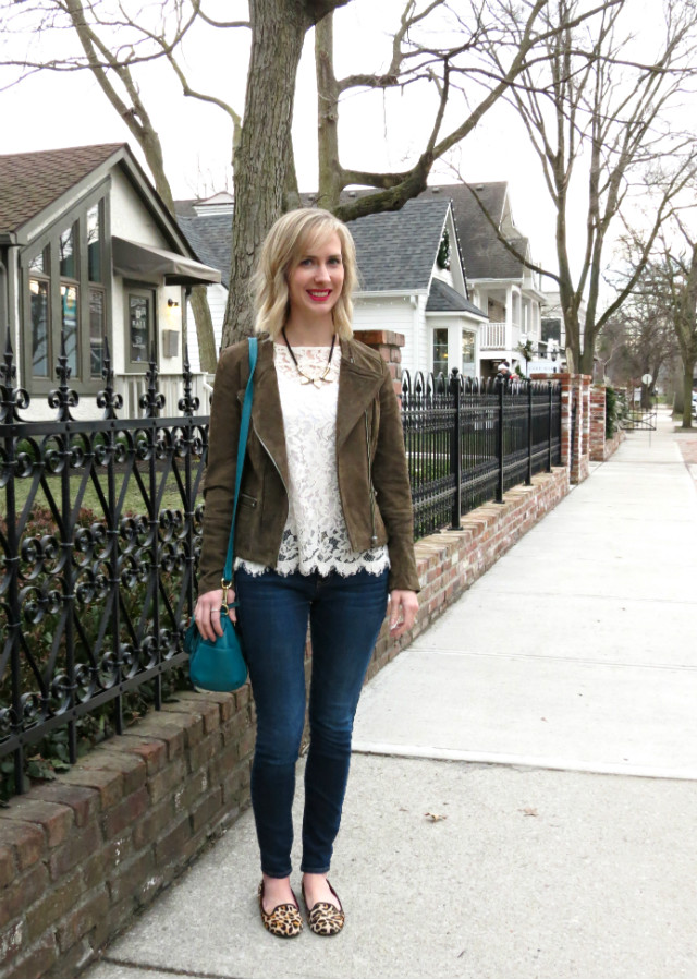 suede moto jacket, lace tee, American Eagle jeggings, Cole Haan leopard loafers