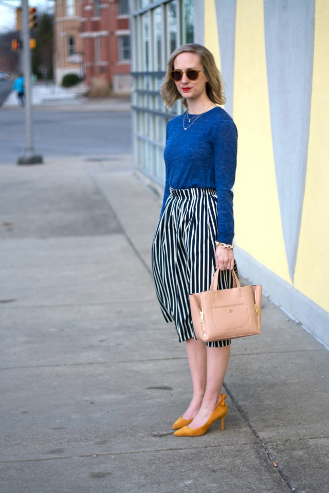 Sole Society yellow bow pumps, stripe midi skirt