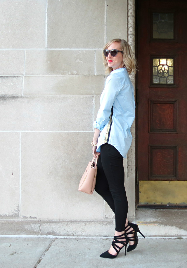 sequin tuxedo stripe shirt, ponte pants, strappy heels, olive leather sleeve trench, Madewell sunglasses, rose quartz bag