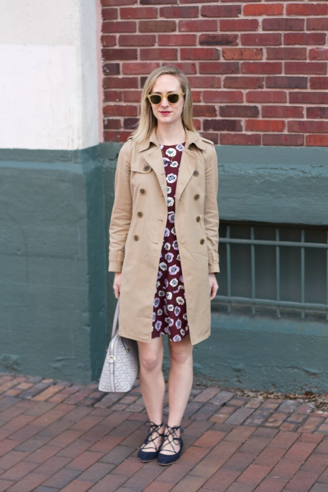 floral dress, lace up flats, trench coat, Uncommon Goods jewelry