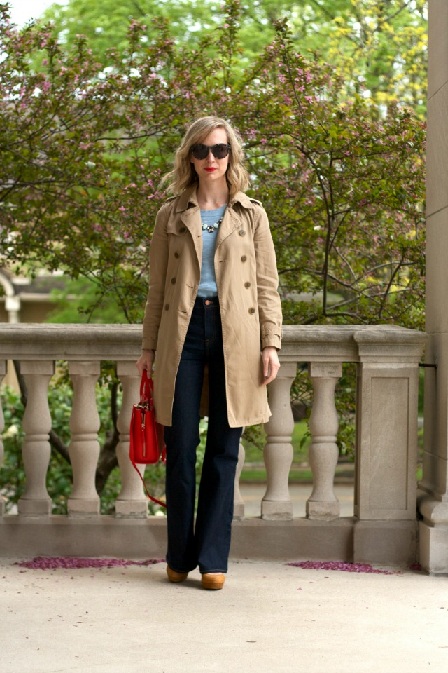 Madewell flea market flares, J. Crew trench coat, red tote bag, platform Mary Janes