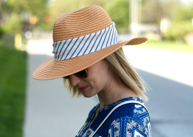 white cuffed jeans, navy espadrilles, straw rancher hat, Kate Spade Cobble Hill straw bag