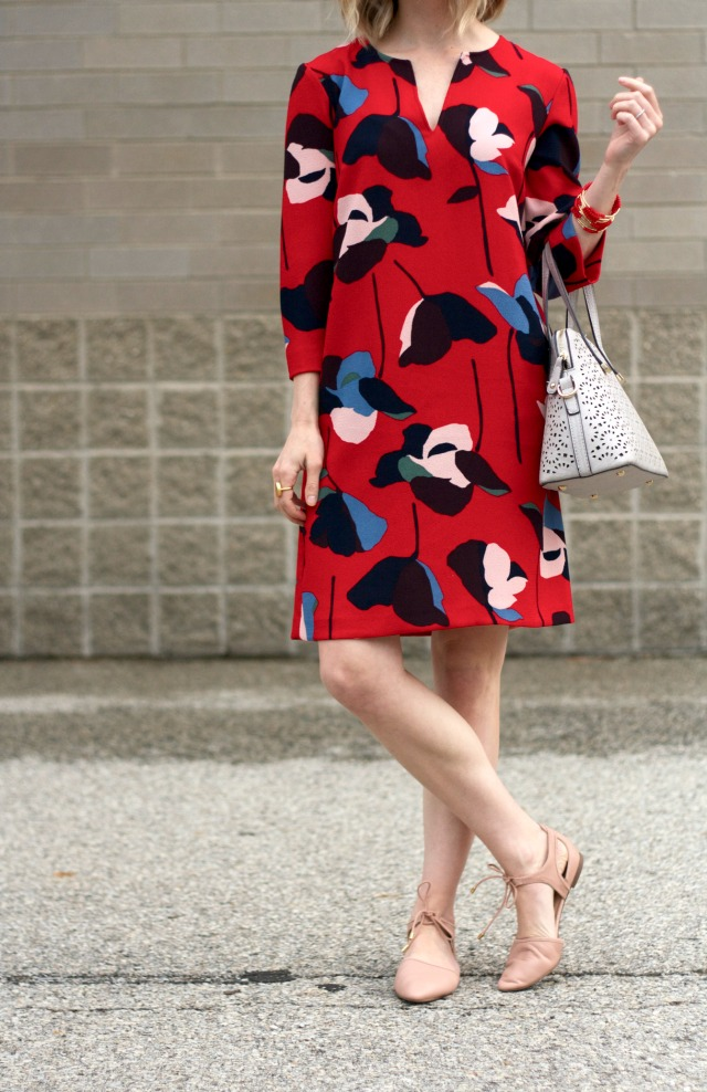 Boden print shift dress, nude tie d'orsay flats, Madewell sunglasses