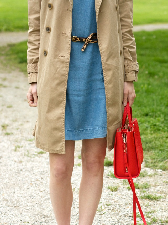 chambray dress, leopard belt, trench coat, leather espadrilles