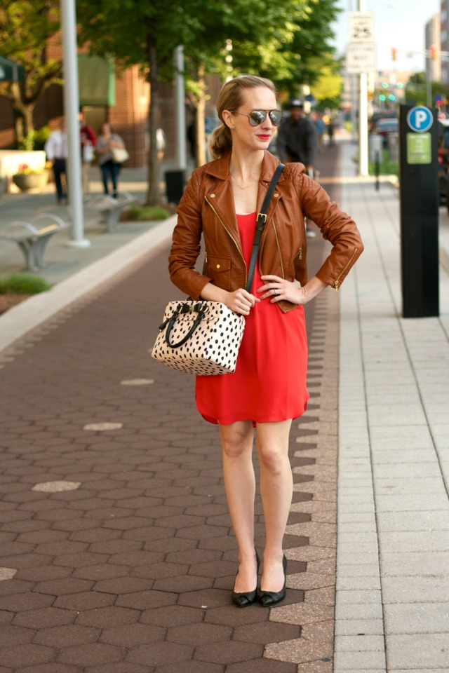 faux leather moto jacket, red orange dress, Kate Spade Upton bag, SEE aviator sunglasses