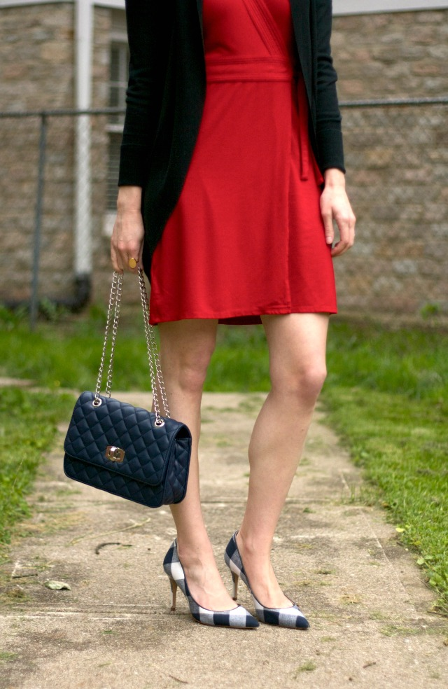 gingham shoes, red wrap dress, quilted bag, lawyer style blog, business casual