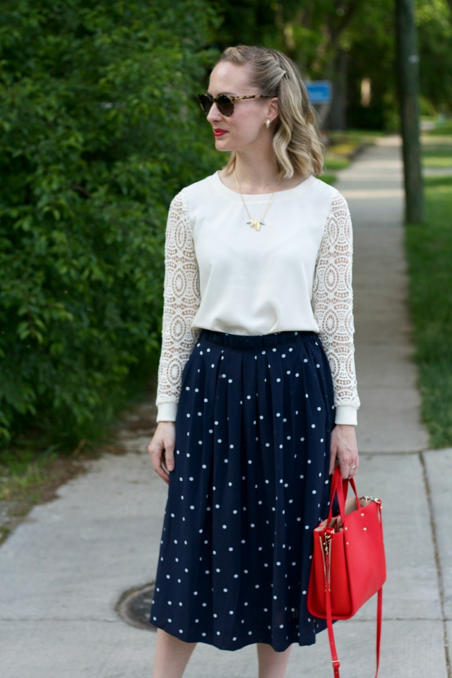 J. Crew polka dot midi, lace sleeve blouse, red bag, Madewell necklace