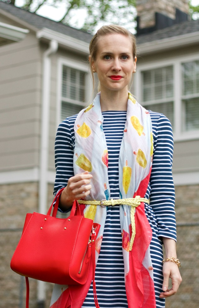 belted scarf, striped dress, navy suede pumps, Ann Taylor signature tote