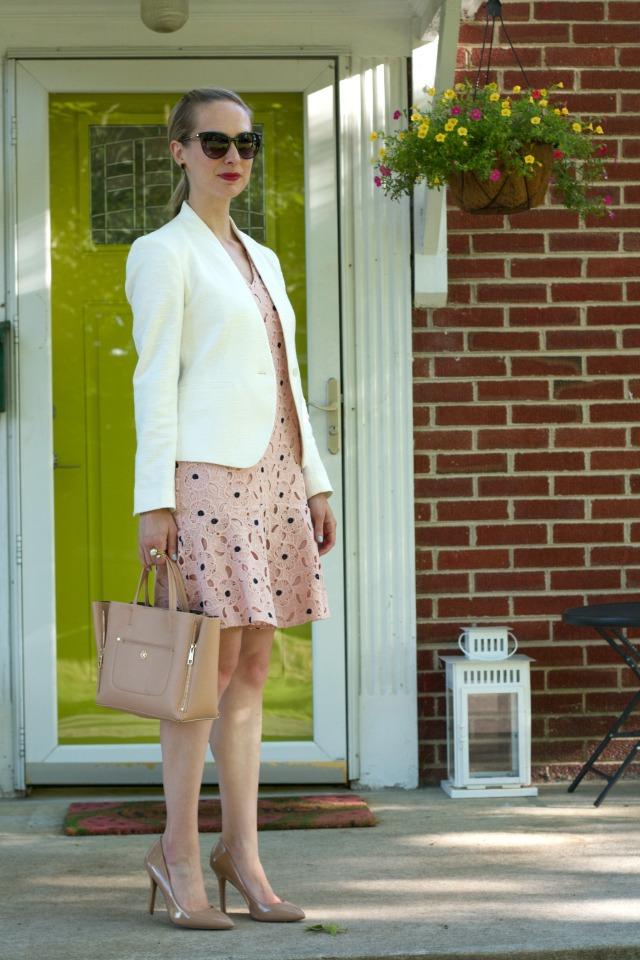 Ann Taylor blush lace dress, white collarless blazer, patent leather nude pumps