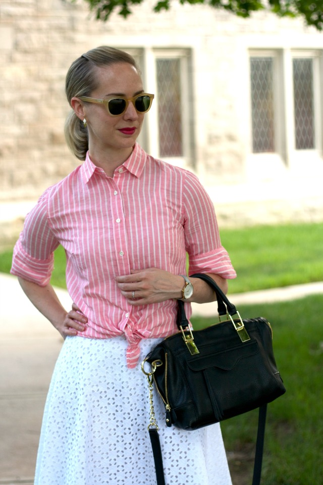 knotted pink stripe button-up shirt, white eyelet flare skirt, Skagen ditte watch, cap toe pumps