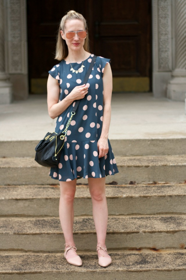 polka dot drop waist dress, blush d'orsay flats, pink Ray Ban mirrored aviators