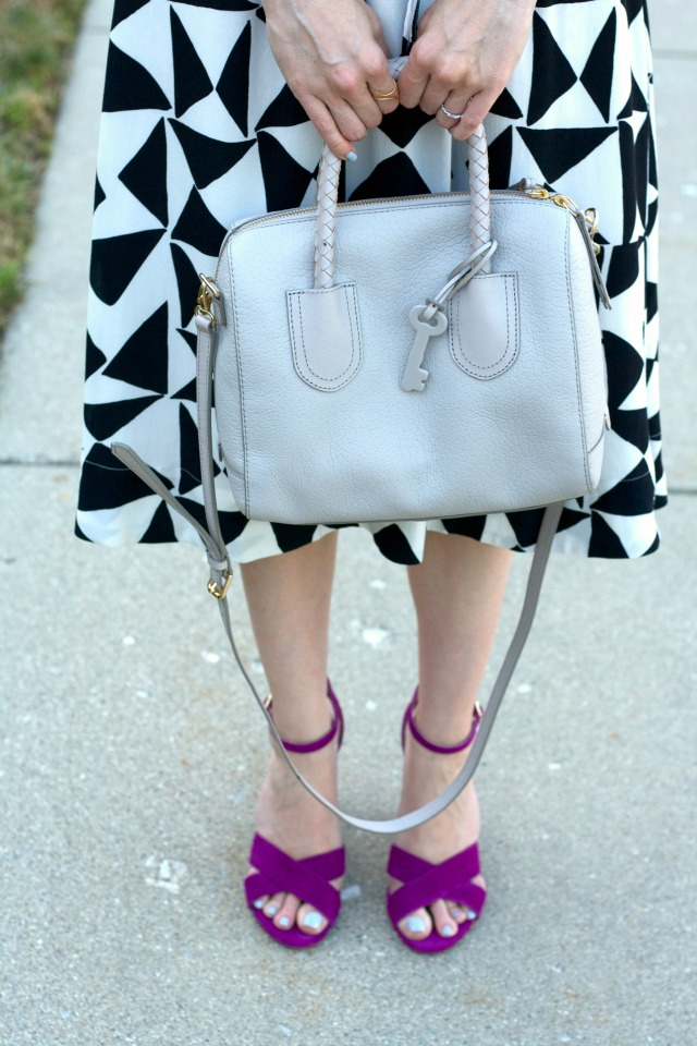 matching top and skirt, Steve Madden suede sandals, Fossil Sydney satchel, layered necklaces