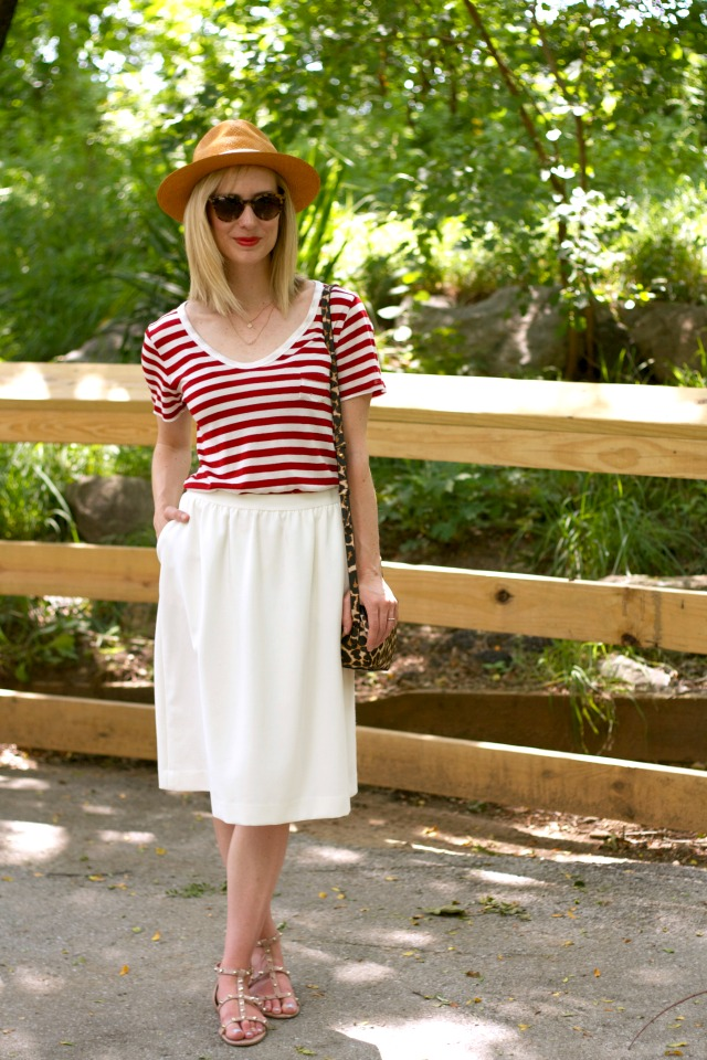 striped tee, white midi skirt, gladiator sandals, Panama hat