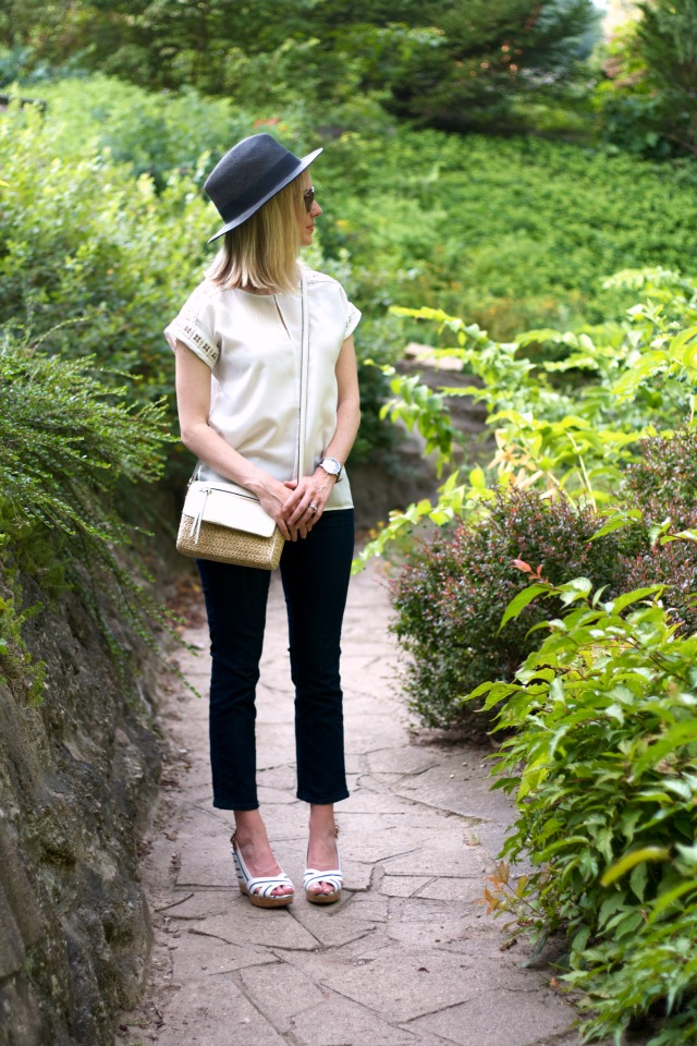 white top, kick crop jeans, striped wedges, black Panama hat, Ted Baker watch