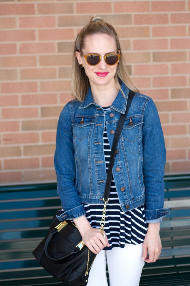 Indiana style blog, white jeans, striped swing tank, denim jacket, suede lace up flats