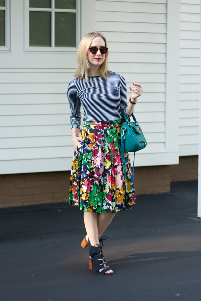 8dce6fb9dde0 striped tee, abstract floral pleated skirt, Madewell sunglasses, peep-toe  booties