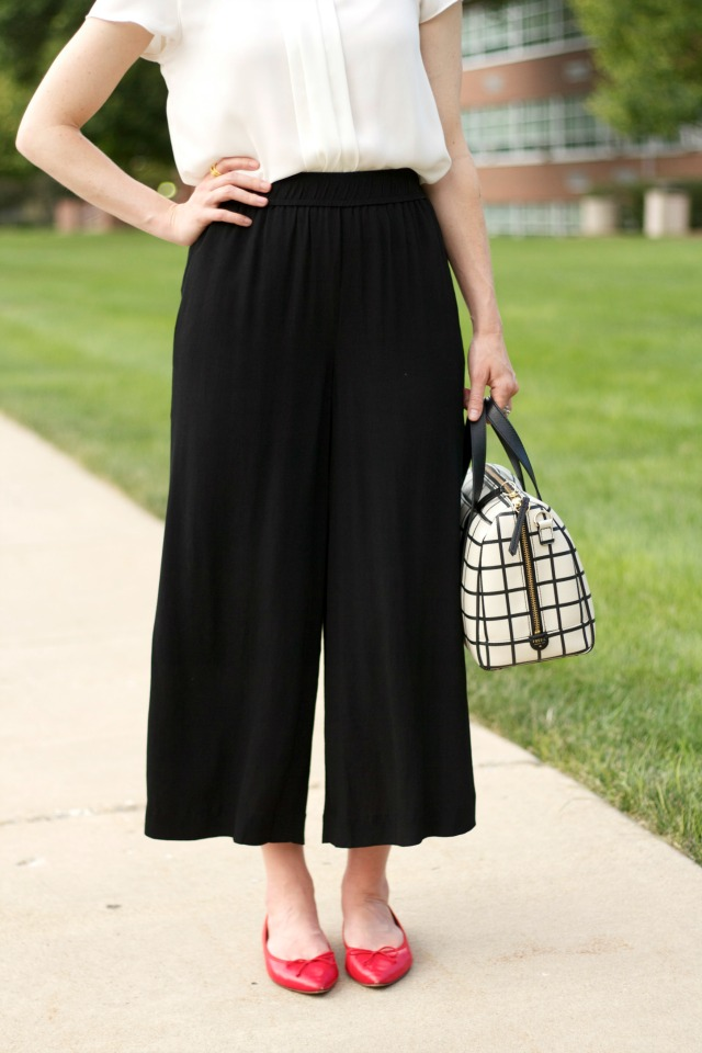 culottes, red ballet flats, Fossil satchel, Madewell sunglasses