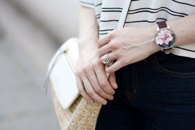 flared sleeve crop top, flared jeans, Ted Baker floral watch, Kate Spade crossbody bag, mint Hepcat sunglasses