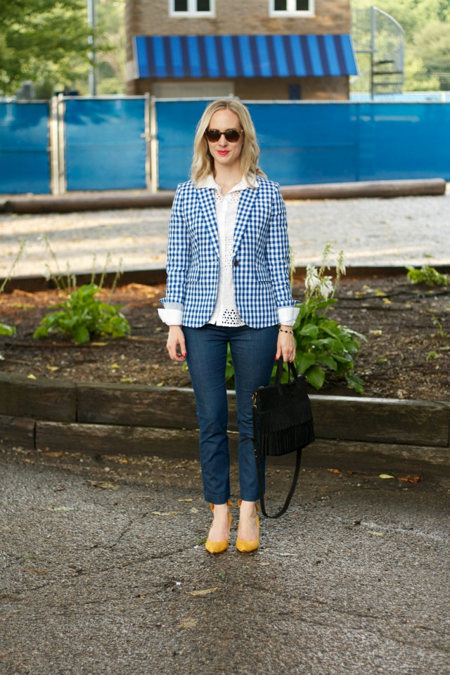 gingham blazer, eyelet button up shirt, kick crop trouser jeans, yellow suede bow pumps, Madewell fringe mini Transport tote