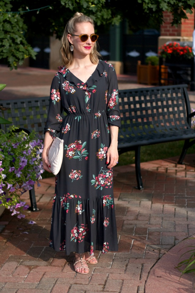 long sleeve floral maxi dress, studded nude sandals
