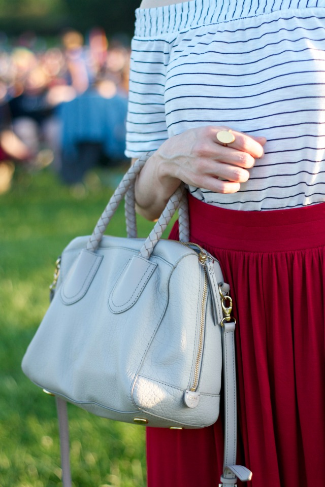 off the shoulder tee, maxi skirt, Fossil bag, Hepcat sunglasses