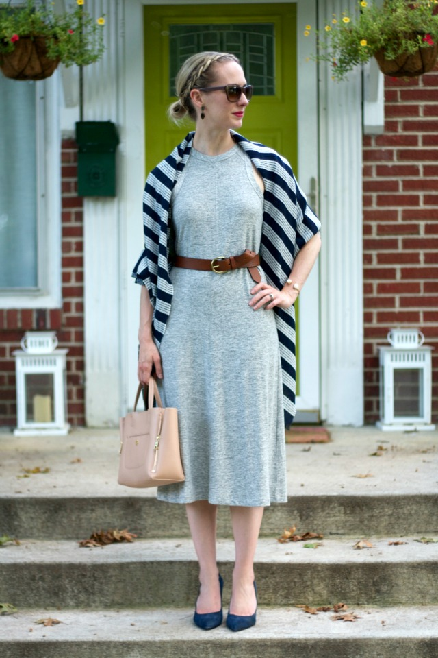 gray midi dress, brown leather belt, navy striped scarf