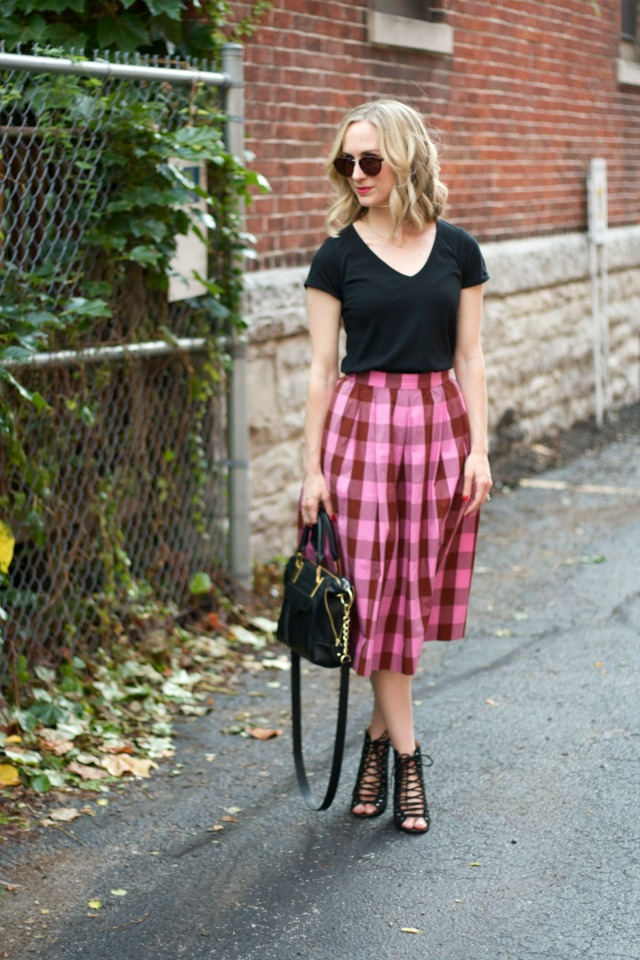 pink gingham midi skirt, black t, lace--up booties