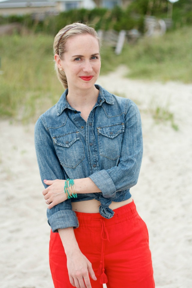 linen pants, knotted chambray, vacation outfit