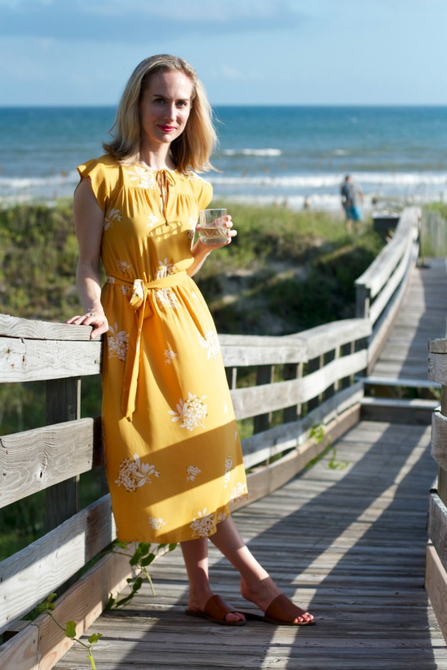 yellow midi dress, leather slides, beach outfit