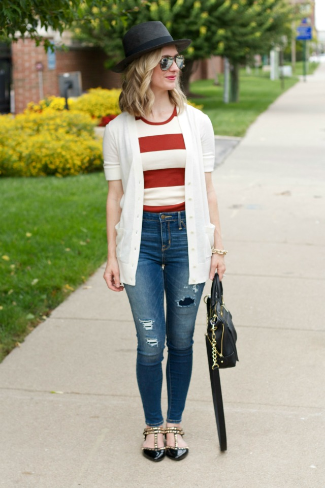 Mossimo high rise jeggings, long cardigan, wide stripe tank, black Panama hat, studded flats