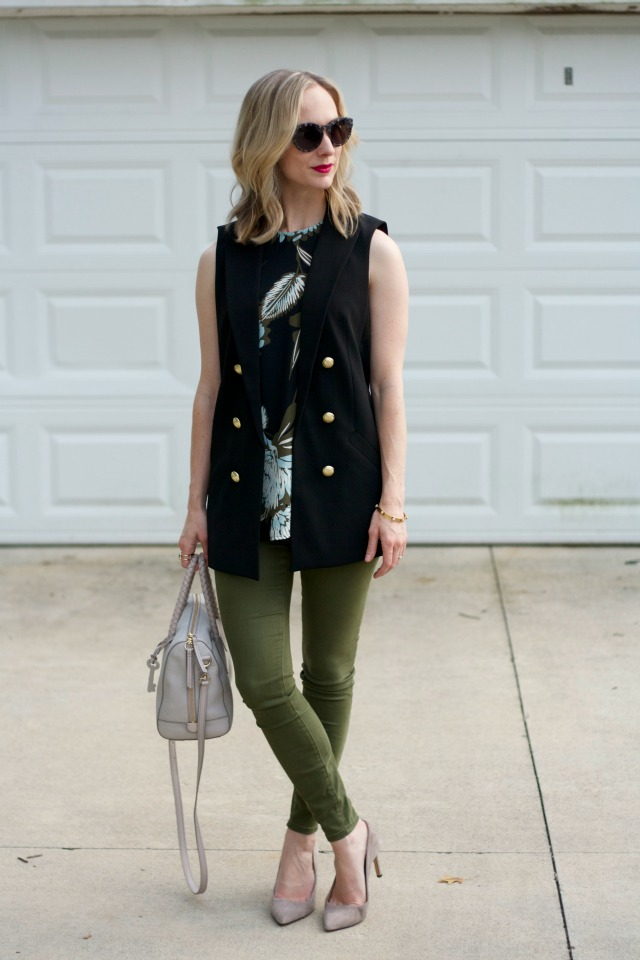 long line vest, sleeveless top, olive green skinny pants