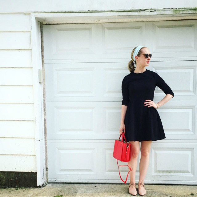 fit and flare LBD, striped headband