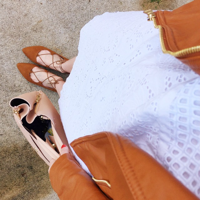 white eyelet dress, tan leather jacket