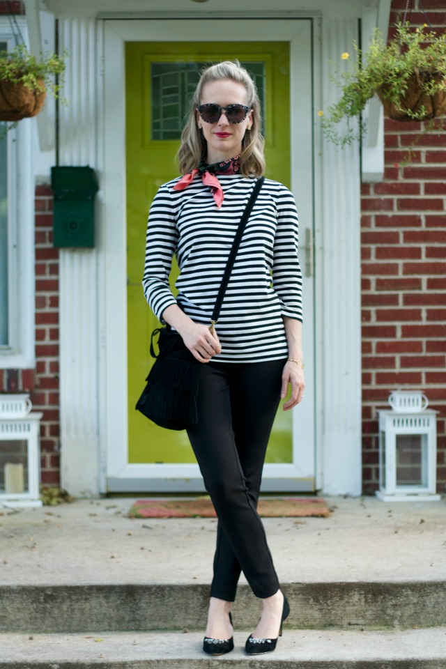 silk neck scarf, striped shirt, skinny pants