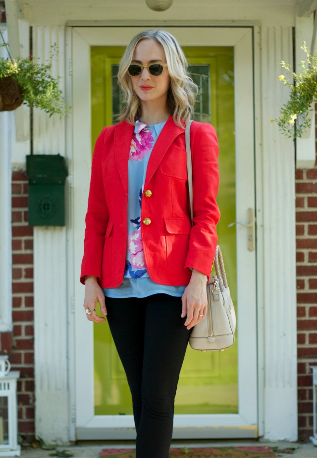 joules floral top, j. crew blazer, ponte pants, lace up open toe booties