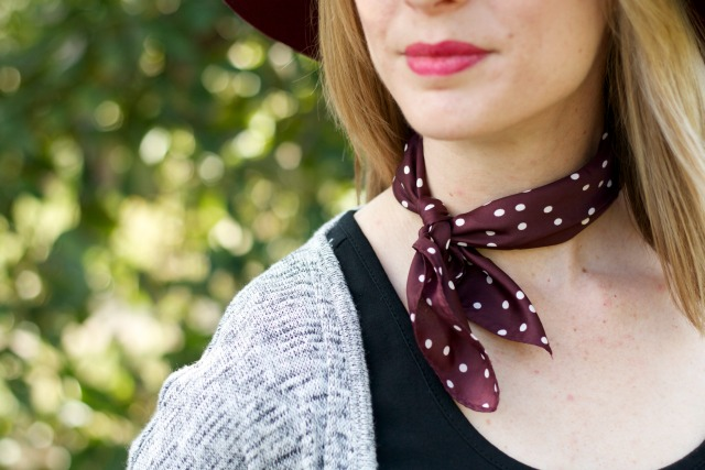 duster cardigan, burgundy polka dot neck scarf, floral tennis shoes, burgundy rancher hat, Tuttle Orchards apple picking