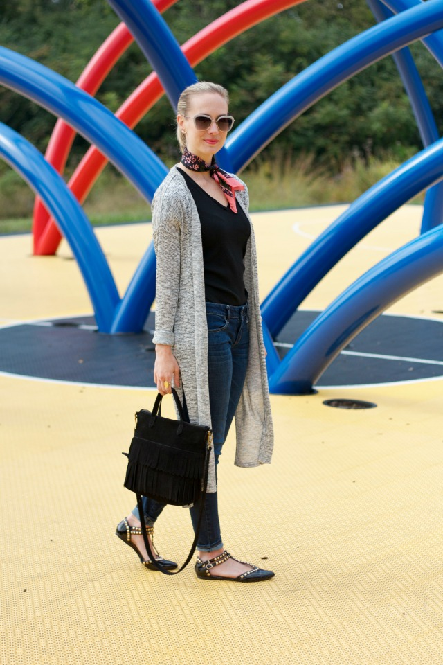 duster, neck scarf, casual outfit