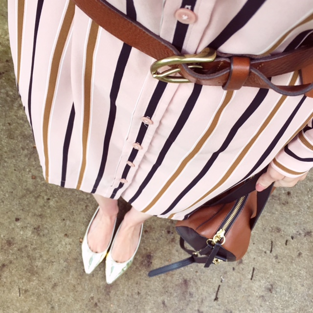 stripe shirt dress with leather belt